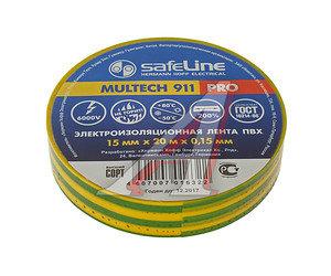 Изолента ПВХ желто-зеленая 15ммх20м SAFELINE 12122, SAFELINE 15х20