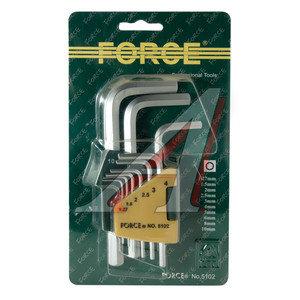 Набор ключей шестигранных 1.27-10мм 10 предметов FORCE F-5102, 5102