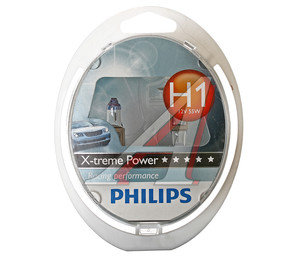 Лампа 12V H1 55W + 80% P14.5s бокс 2шт. X-treme Power PHILIPS 12258XP2, P-12258XP2-OLD, А12-55(Н1)