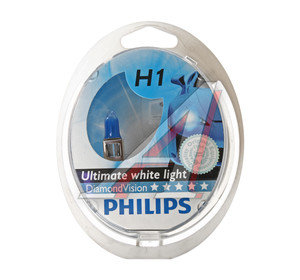 Лампа 12V H1 55W P14.5s бокс 2шт. Diamond Vision PHILIPS 12258DVS2, P-12258DV2, А12-55(Н1)