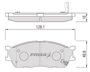 Колодки тормозные KIA Rio (02-), Spectra, Carens передние (4шт.) HANKOOK FRIXA FPK24, GDB3285, 58115-FDA00