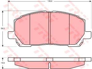 Колодки тормозные LEXUS RX300 TOYOTA Kluger передние (4шт.) TRW GDB3286, 04465-48030/04465-48090