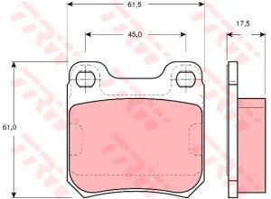 Колодки тормозные OPEL Vectra B (2.5 V6), Omega B (2.2/2.6 V6/3.2 V6) задние (4шт.) TRW GDB1302, 1605006/1605026/1605031/1605883/1605047