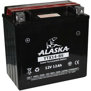 Аккумулятор ALASKA 12А/ч мото 6СТ12YTX14-BS, 83504