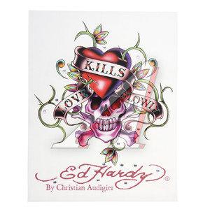 "Наклейка виниловая ""LOVE KILLS SLOWLY"" 18х23см со стразами ED HARDY EH-00127"