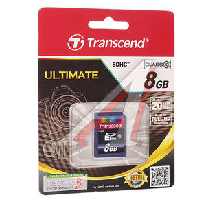 Карта памяти 8GB TRANSCEND SDHC CLASS 10 TRANSCEND 8GB SD SDHC 10