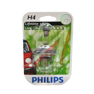 Лампа H4 12V 60/55W P43t-38 Long Life Eco Vision блистер PHILIPS 12342LLECOB1, P-12342LLECOбл, АКГ12-60+55(Н4)