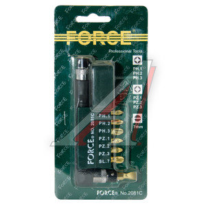 """Набор бит 1/4"""" SL 7мм PH 1-3 PZ 1-3 с Г-образным воротком на планке 8 предметов FORCE F-2081C, 2081C, 4719866900138"""