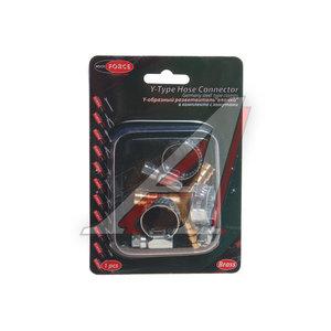 """Переходник для компрессора 8мм Y-образный """"елочка""""с хомутами в блистере ROCK FORCE RF-E102-5/2"""