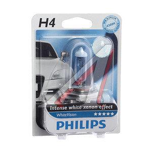 Лампа H4 12Vх60/55W (P43t) WHITE VISION 4300K (блистер) PHILIPS 12342WHVB1, P-12342WHVбл,