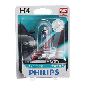 Лампа 12V H4 60/55W +130% P43t-38 блистер (1шт.) X-Treme Vision PHILIPS 12342XVP+B1, P-12342XVPбл, АКГ12-60+55(Н4)