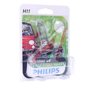 Лампа H11 12V 55W Long Life Eco Vision блистер PHILIPS 12362LLECOB1, P-12362LLECOбл