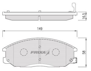 Колодки тормозные HYUNDAI Starex H-1 (02-) передние (4шт.) HANKOOK FRIXA FPH09N, 58101-4AA26