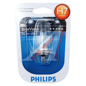 Лампа H7 12V 55W Blue Vision Ultra блистер PHILIPS 12972BVB1, P-12972BVбл-OLD