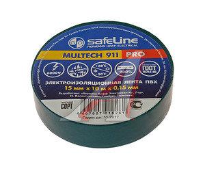 Изолента ПВХ зеленая 15ммх10м SAFELINE 12119, SAFELINE 15х10