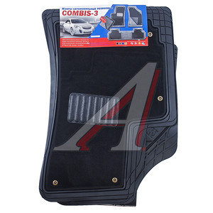 Коврик салона универсальный резина цельный задний ряд черный (4 предмета) COMBIS COMBIS ковр.сал.унив