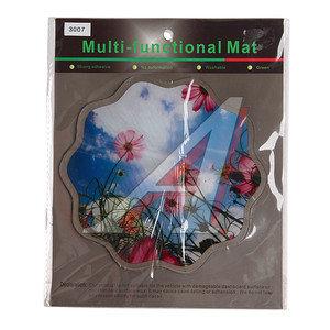Коврик на панель приборов универсальный противоскользящий 190х190 с рисунком цветы на фоне неба ART3007
