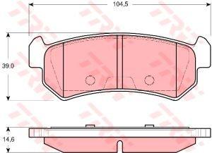 Колодки тормозные CHEVROLET Lacetti (-06), Nubira (1.4/1.8) (03-) задние (4шт.) TRW GDB3348, 96405131