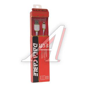 Кабель iPhone (5-) 1м белый силиконовый плоский LDNIO LS-131W, LDNIO LS13