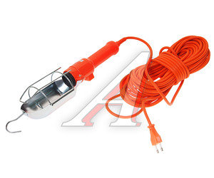 Лампа переносная 220V 60W Е27 провод 15м оранжевая LUX ПР-60-15, 4606400027027,