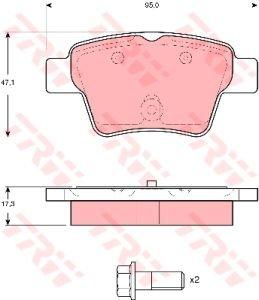 Колодки тормозные PEUGEOT 307 (1.4/2.0 HDi 16V) (04-) CITROEN C2, C4, Xsara (04-) задние (4шт.) TRW GDB1620, 4253.25/4253.40/4254.01/4253.99