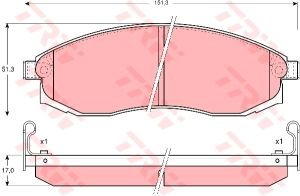 Колодки тормозные NISSAN Teana J31, Maxima A32, J30 передние (4шт.) TRW GDB3124, 41060-38U90/41060-3L190