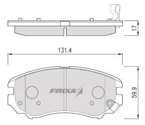 Колодки тормозные HYUNDAI Sonata 5,Tucson,Elantra XD KIA Magentis передние (4шт.) HANKOOK FRIXA FPH02NF, 58101-3CA70