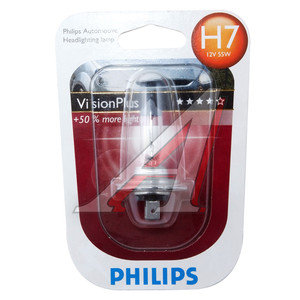 Лампа H7 12V 55W +60% VisionPlus блистер PHILIPS 12972VPB1, P-12972VPбл