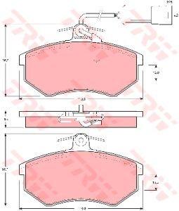 Колодки тормозные AUDI 80,100,200 передние (датчик износа) (4шт.) TRW GDB404, 443698151F