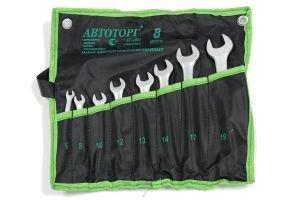 Набор ключей комбинированных 6-19мм 8 предметов в сумке изгиб 15град. АВТОТОРГ АТ-4081