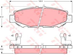 Колодки тормозные LEXUS GS300 (93-97), (97-) задние (4шт.) TRW GDB1185, 04466-30050/04466-30030