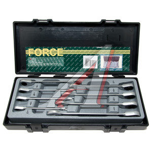 """Набор ключей накидных трещоточных 3/4-5/16"""" 8 предметов в кейсе прямые FORCE F-50812,"""