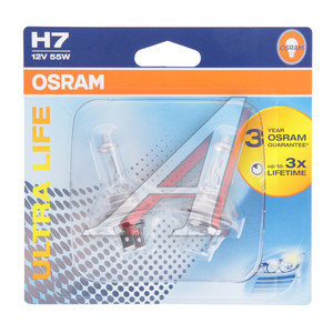 Лампа 12V H7 55W PX26d блистер (2шт.) Ultra Life OSRAM 64210ULT-02B, O-64210ULT-2бл, АКГ 12-55 (Н7)
