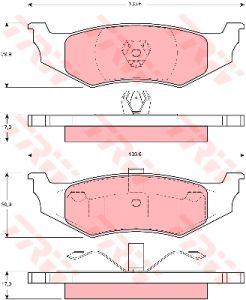 Колодки тормозные CHRYSLER Neon, Sebring, 300M задние (4шт.) TRW GDB1234, 4720644/4863784/4762669/5011630AA/5011631AA