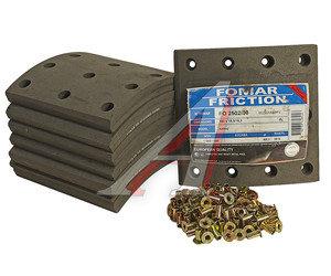 Накладка тормозной колодки КАМАЗ-ЕВРО сверленая расточенная комплект 8шт.с заклепками FOMAR 6520-3501105, 65250200A8RV,