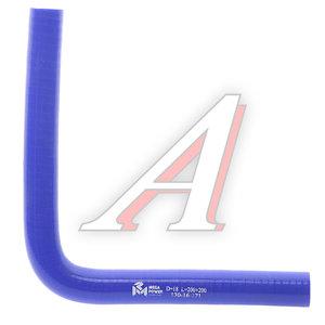 Патрубок угловой синий силикон (d=18, L=200х200) Патрубок D=18*