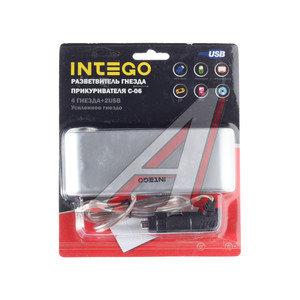 Разветвитель прикуривателя 4-х гнездовой +2 USB 12-24V серебро INTEGO INTEGO C-06,