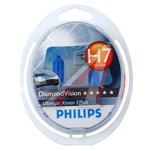 Лампа 12V H7 55W PX26d бокс 2шт. Diamond Vision PHILIPS 12972DVS2, P-12972DV2