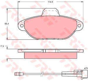Колодки тормозные FIAT Punto,Panda (94-) передние (4шт.) TRW GDB1115, 77362479