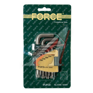 Набор ключей TORX T10Н-Т50H Г-образных 9 предметов FORCE F-5098T