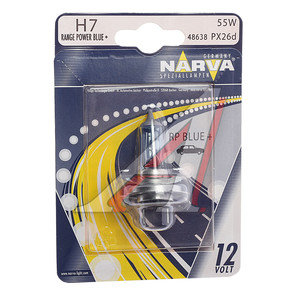 Лампа H7 12V 55W +50% Range Power Blue блистер NARVA 48638B1, N-48638RPBбл