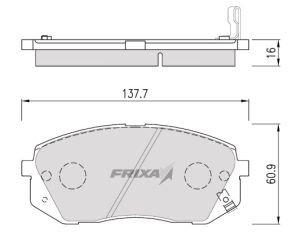 Колодки тормозные KIA Sportage (05-), Carens (06-) передние (4шт.) HANKOOK FRIXA FPK25, 58101-1DA00