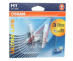 Лампа 12V H1 55W P14.5s блистер 2шт. Ultra Life OSRAM 64150ULT-02B, O-64150ULT-2бл