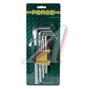 Набор ключей шестигранных 1.27-10мм удлиненных 10 предметов FORCE F-5102L, 5102L