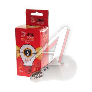 Лампа светодиодная E27 A60 6W (40W) теплый ЭРА ЭРА LED smd A60-6w-827-E27 ECO, ER-LED276W, ЭРА LED smd A60-6w-827-E27 ECO (10/100/1200)