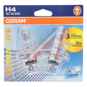 Лампа 12V H4 60/55W P43t блистер 2шт. Ultra Life OSRAM 64193ULT-02B, O-64193ULT-2бл