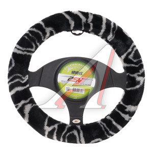 Оплетка руля (M) черная/серая искусственный мех Irbis PSV 119432, 119432 PSV