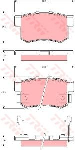 Колодки тормозные HONDA CR-V 2 задние (4шт.) TRW GDB3269, 43022-S9A-E00/43022-S9A-010/43022-SG0-020/43022-TL