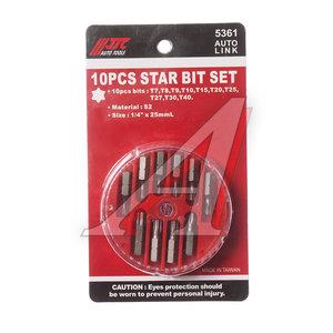 """Набор бит 1/4"""" TORX Т7-Т40 в кейсе 10 предметов JTC JTC-5361,"""