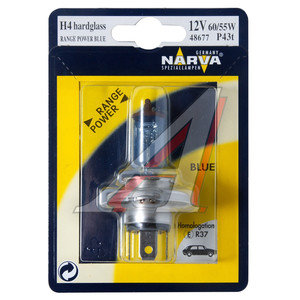 Лампа H4 12V 60/55W P43t +50% Range Power Blue блистер NARVA 48677B1, N-48677RPBбл,
